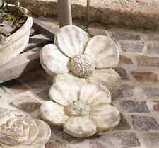 Deko Blume Blüte 2 er Set Steinblüte Garten Terrasse Grabschmuck Grabdeko