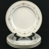 "Set of 4 VTG Salad Plates 8"" by Noritake Fairmont 6102 Pink Roses Floral Japan"