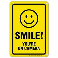 "Smile You're on Camera Sign, Area Under Video Surveillance Sign  7"" x 10"""