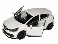RENAULT CLIO RS 12 cm Opening Doors Pull Back & Go Metal Diecast Toy Car White