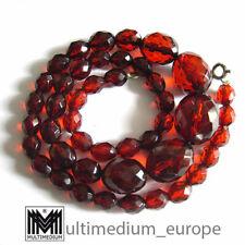 Art Deco roter cherry amber Bernstein Optik Bakelit Halskette 20er necklace