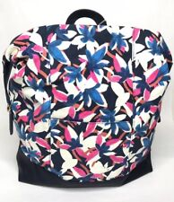 A New Day - Navy Floral Patten - Navy / Pink Canvas Backpack