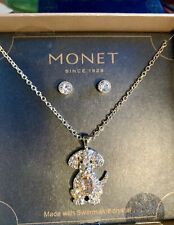 SWAROVSKI CRYSTAL DOG Necklace with earrings Monet Since 1929 New In Box Rare