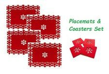 Christmas Table Placemats Set Coasters 4 Dining Mats Red Place Santa 8 Dinner Single Placemat