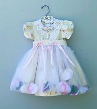 Vintage Daisy Kingdom Factory Made Dress USA Lace Tu Tu Full Skirt Tulle Floral