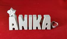 Beton, Steinguss Buchstaben 3D Deko Namen Schriftzug ANIKA als Geschenk verpackt