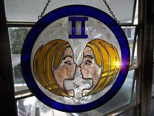 Gemini Ii 10in.Zodiac Stained Glass Suncatcher Hanging Round 2 women purple blue