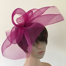 dark pink plum purple crin fascinator headband headpiece wedding ascot bridal