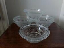 6 x vintage clear / patterened  glass dessert/ fruit/ sundae  bowls/ dishes.