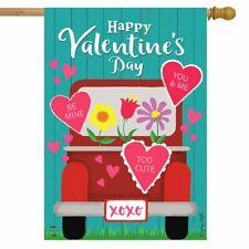 "Happy Valentine's Pickup House Flag Valentine's Day 28"" x 40"" Briarwood Lane"
