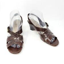 CIRCA Joan & David Brown Croc Leather Wedge Sandals Shoes Malina Womens 7.5