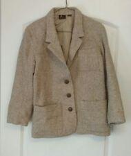 Womens Beige Liz Claiborne Lizsport Petites Tweed Blazer Jacket Size 4 Petite