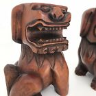 Hand Carved Wood Foo Dog Asian Sculptures Wooden Bookends  Set of Two