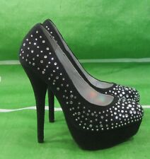 "new ladies Black/Stones 5.5""Stiletto Heel Open Toe Sexy Shoes Size  5.5"