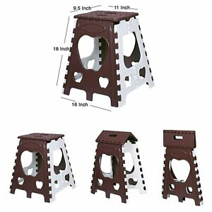 Portable Folding Plastic Step Stool, 18 Inch, Brown/Ivory