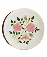 STANGL Pottery 10-1/4 In. Plate Farmhouse Floral Pink Green Hand Painted Vintage