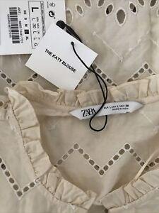 Zara Cotton Frill Blouse. Size L. Brand New