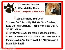 Funny Dog Chow Chow  House Rules Refrigerator / Magnet Gift Card Insert