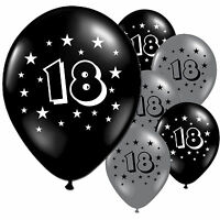 """10 Black Silver 18th Birthday Party 11"""" Pearlised Latex Printed Balloons"""