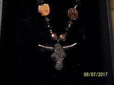 New listing Handcrafted Jeweled Steer Pendant on Crystal Beaded Necklace