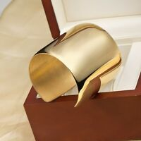 Hot 42mm Womens Silver Gold / Rose Gold Stainless Steel Open Cuff Bangle Jewelry