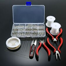 Jewelry Making Starter Kits Pliers Beads Chain Tools Set with Box Silver Plated