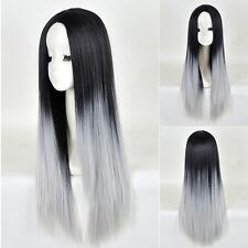 Perruque Longue Plein Cheveux Droite Cosplay Femme Noir Gris Ombre Full Wig Neuf