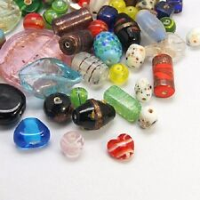 50g X Mixed Sized Assorted Coloured Glass Lampwork Beads
