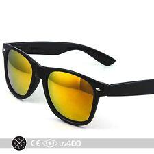 Black Fire Mirror Lens Neon Frame Party Sunglasses 80s Retro FREE Case S002