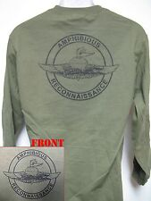 USMC FORCE RECON LONG SLEEVE T-SHIRT/ AMPHIBIOUS RECON T-SHIRT/ MILITARY/ NEW
