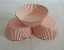 100 plain light pink cupcake liners baking paper cup standard size muffin cases