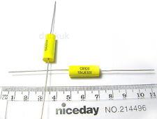 2x Condensatore 0,1 uF 100nF 630V DC POLIPROPILENE assiale VALVOLA IN METALLO VINTAGE UK PELLICOLA