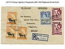 112: Kenya, Uganda, & Tanganyika, QEII, 1955 Registered Airmail Cover