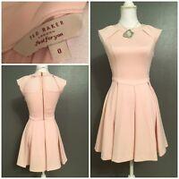 Ted Baker Ladies Dusky Pink Skater Dress Label Size 0 Fits UK 6-8