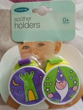 NEW BOYS 2  MOTHERCARE  PLASTIC SOOTHER HOLDERS WIZARD