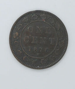 1876 Canadian coin One cents VF-20 condition