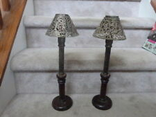 2 Antique Vintage Primitve Push Up Candle Stick Holder Wood Silver Shades 16""