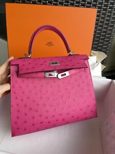 Hermes Kelly 25 Sellier Rose Tyrien Ostrich W/lime Interior - Special Order New