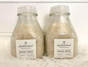 New Hearth And Hand Magnolia Joanna Gaines Orange Amber Bath Salts Lot Of 2 Jars