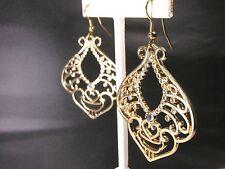 Dangle Earrings Gold colored Filigree with 33 Rhinestones     FREE SHIP in U.S.
