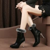 Womens ladies Fashion Suede Leather Rabbit Fur High Heel Ankle Boots Shoes Sea19