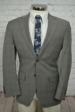 Jones New York Mens Brown Taupe Check Wool Sport Coat Blazer Jacket SIZE 36S