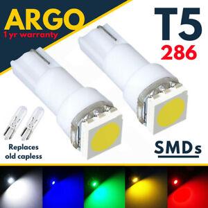 T5 286 Led Dashboard Gauge White 3528 Car Speedo Instrument Light Bulbs 12v 0.4w