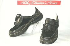 BORN Womens Shoes Loafers Mules Tassels Slip On Black Leather Sz 7.5 / 38.5 *VG+