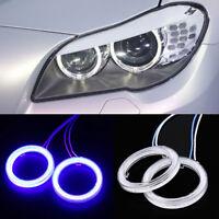 2x70mm Car Headlight COB Angel Eyes Halo Rings Waterproof LED Cover Fog Light UK