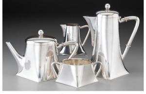 A057 4 Piece Germany Koch & Bergfeld Transitional Silver Tea and Coffee Set.1884
