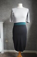 Hobbs Jumper Dress, Size 8 | Silk & Cashmere | Black Green & Grey FREE Shipping