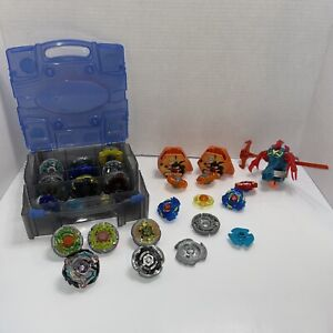Beyblade Metal Masters lot of 18 beyblades and Parts With Carrying Case launcher