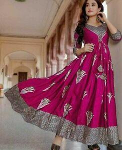 Women Flared Long Kurta Kurti Partywear Gown Long Kurti Bollywood Style Gown New