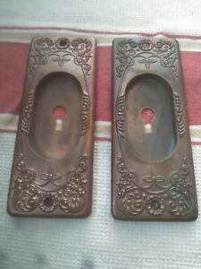 Vintage Brass/Bronze Pocket door handles pulls. Bid 1 pair/ 2 pairs available